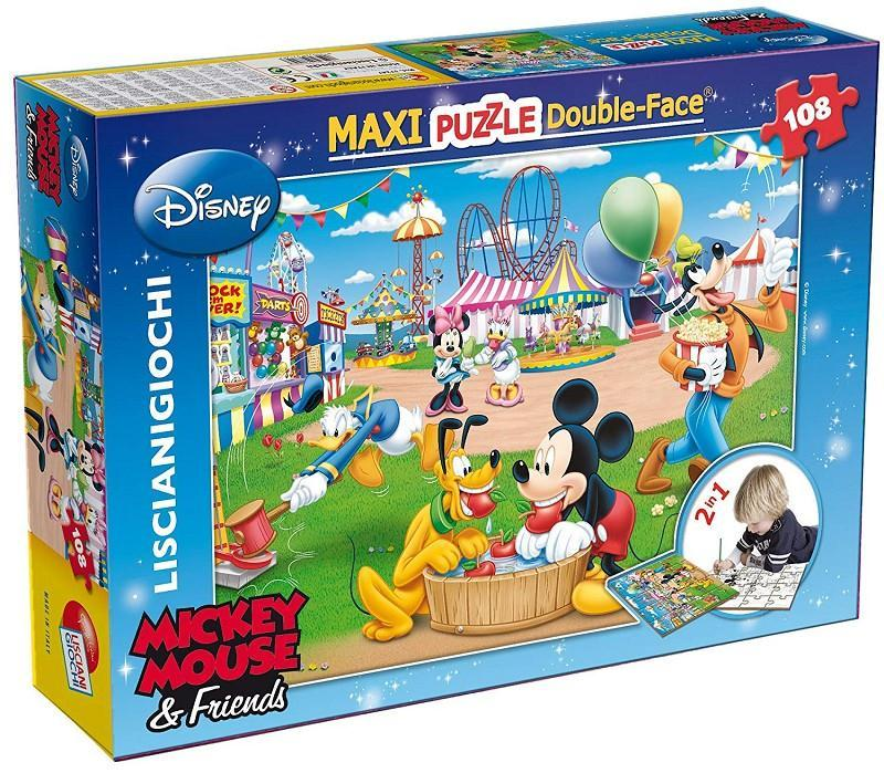 lisciani 37247 mickey mouse puzzle 108 pz maxi double face