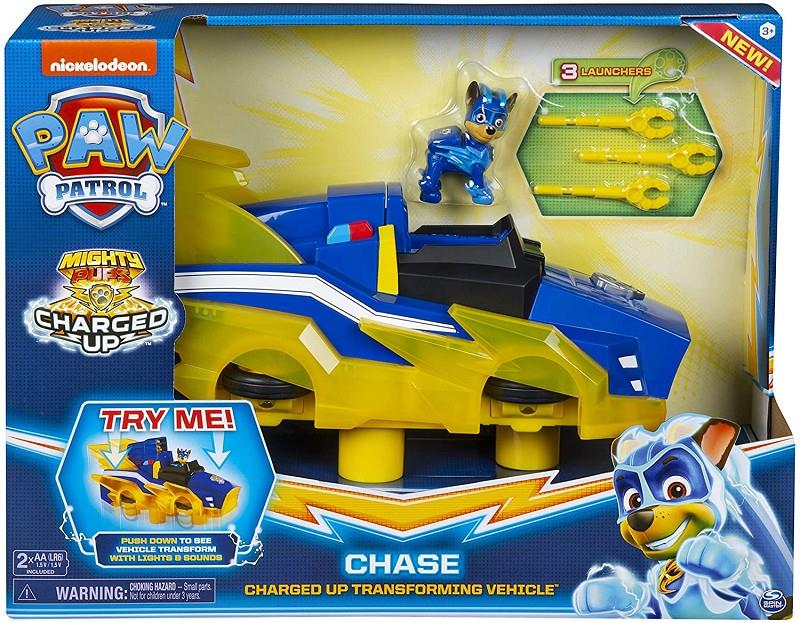 spin master 6055932 paw patrol mighty pups chase veicolo trasformabile deluxe