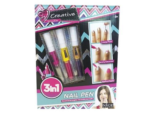 NICE GROUP GIOCHI CREATIVI ACCESSORI DI BELLEZZA NAIL ART PEN 3 IN 1 DECORA LE TUE UNGHIE NICE GROUP
