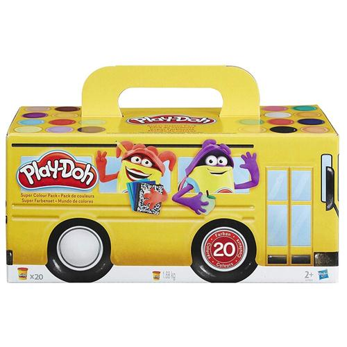 HASBRO GIOCHI EDUCATIVI PLASTILINA E SABBIA MAGICA PLAY DOH SUPER COLOR PACK BUS